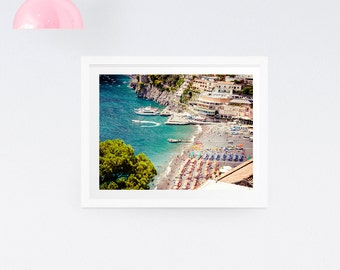 Italy beach photography print - Nautical print, Italy photography, Positano, Amalfi Coast print