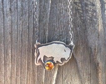Sterling Silver Bison Necklace Citrine gemstone - Citrine Bison Necklace