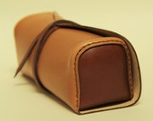 100% handmade leather pencile case, pouch, toolbag,handstitched light and dark brown leather, GENATI, man gift, woman
