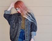 AMAZING Vintage Levi's Grunge Stone Wash Black Denim Oversized Jean Jacket // Unisex Men's Women's
