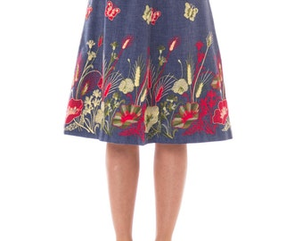 gucci inspired clothing. 1970s gucci-inspired denim a-line floral embroidered skirt size: m-l gucci inspired clothing