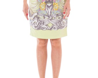 1990s Laurel Pastel Printed High-waisted Pencil Skirt Size: XS