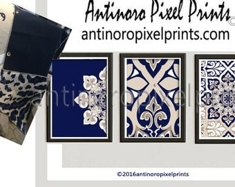 Art Ikat Dark Navy Khaki White illustration Wall Art Pictures - Set of (3) - 11x14 Prints - (UNFRAMED) #265642835