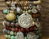 Stack Bracelets, Beaded Bracelets, Mermaid Bracelet, Boho Bracelet, Turquoise Bracelets, Charm Bracelet, Stretch Bracelet, Layering Bracelet