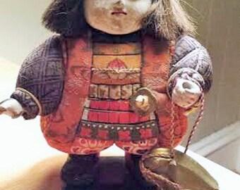 Antique Japanese Ningyo of Momotaro the Peach Boy Doll