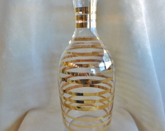 Lovely clear glass and 22k gold striped decanter or vase