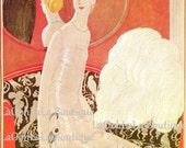 1922 Vogue Moulin Rouge Mademoiselle Cover Eduardo Benito Art Courtly Courtesan Vintage Original 1980 Print Haute Couture Flapper Wall Decor