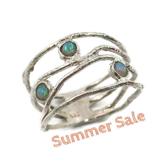 Opal ring. Sterling silver opal ring. Wave ring. Opal jewelry. Silver ring. Wide silver ring. Opal silver ring. Wide ring. (sr-9773-1129).