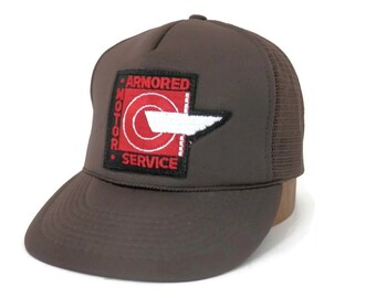 Vintage Armored Motor Service Trucker Cap Brown and White Mesh w/Adjustable Snap Back