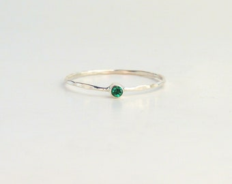 Emerald Ring- Tiny Emerald Ring, Natural Emerald Ring, Dainty Emerald Ring, Stackable Emerald Ring, Midi Emerald Ring, Pinky Emerald Ring