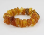 Chunky Baltic Amber Rough Chip Bead Bracelet Mixed Honey and Egg Yolk Beads on Stretch Cord