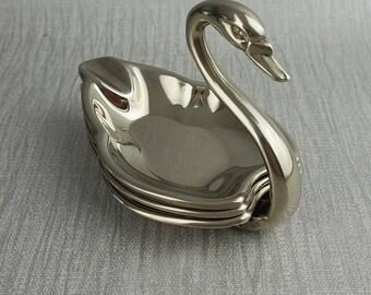 Seba Swan Trinket Ashtray Tray Set Silver Plated Made in England