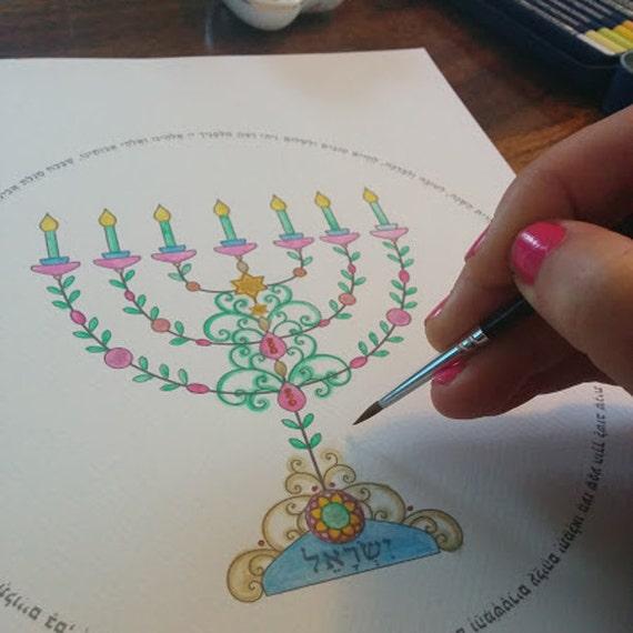 Items similar to gold menorah template printable menorah for Menorah arts and crafts