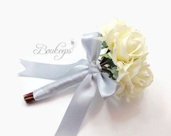 CHOOSE RIBBON COLOR - White Rose Bouquet, Rose Bridal Bouquet, Real Touch Rose Bouquet, Ivory Rose Bouquet, Rose Bouquet, Real Touch Rose