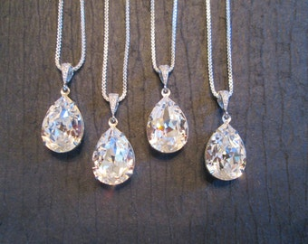 SET OF 3,4, 5, 6 -Large Crystal Bridesmaid Necklaces/Bridesmaid Jewelry/Swarovski Crystal Necklace /Swarovski Necklace/Wedding Jewelry