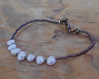 Bracelet Rustic White Fresh Water Pearl  Brass Toho Bead Wedding Party Everyday Wear Valentine