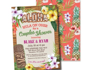 HAWAIIAN ALOHA TIKI luau tropical flower invitation couple bridal wedding shower engagement party rehearsal dinner graduation going away