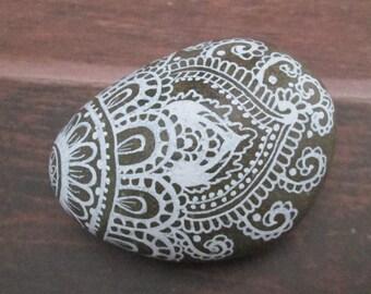 Henna inspired hand painted desk stone teacher gift garden Bohemain art