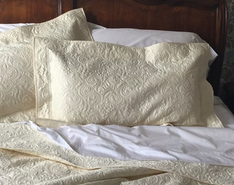 Quilted Pillow Sham - King Size Whole Cloth in Ivory Custom Quilt Heirloom Wedding Quilt Ivory White