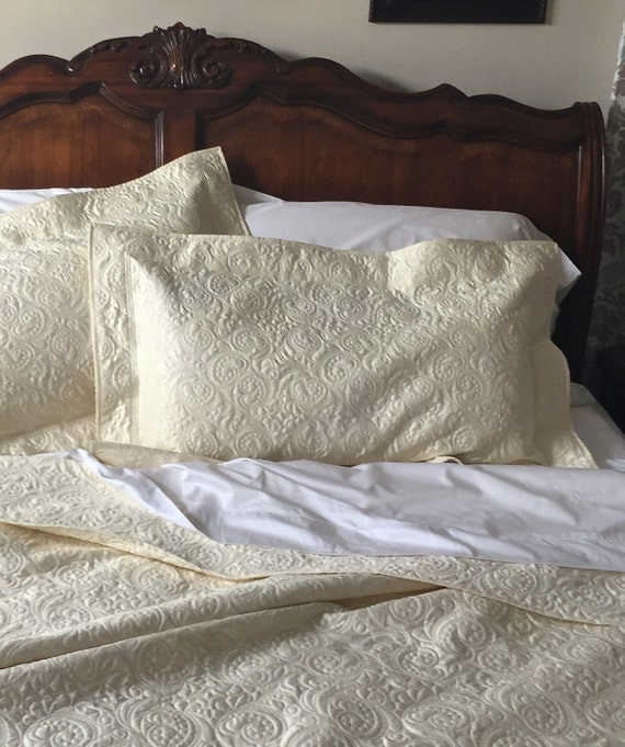 Quilted Pillow Sham King Size Whole Cloth In Ivory Custom