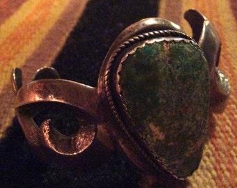 Vintage Handmade Signed Native American Sand Cast Cuff Bracelet