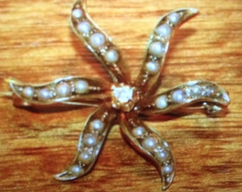 Antique 14k Spiral Star Pearl & Diamond Brooch