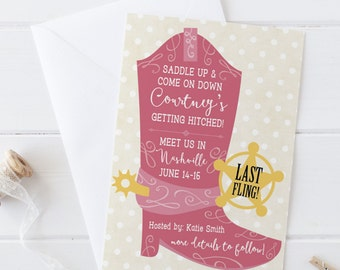 Gettin' Hitched Cowgirl Boot- Bachelorette Party Invitation