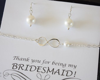 3 Infinity Silver Bridesmaid Bracelet and Earring Set, Infinity Gold Jewelry, Bridesmaid Gift, White Pearl, Thank You Card, Pearl Earrings