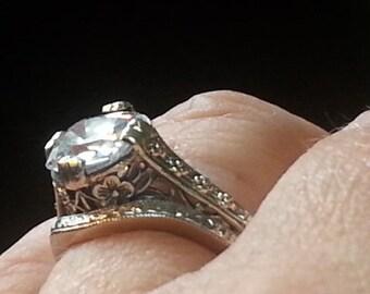 Antique Reproduction Engagement Ring Set - Old Mine Cut Engagement Ring Set - Edwardian Engagement Ring Set