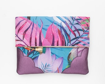 SUMMERY 58 / Tropical fabric & Natural leather folded clutch bag with leather tassel - Ready to Ship