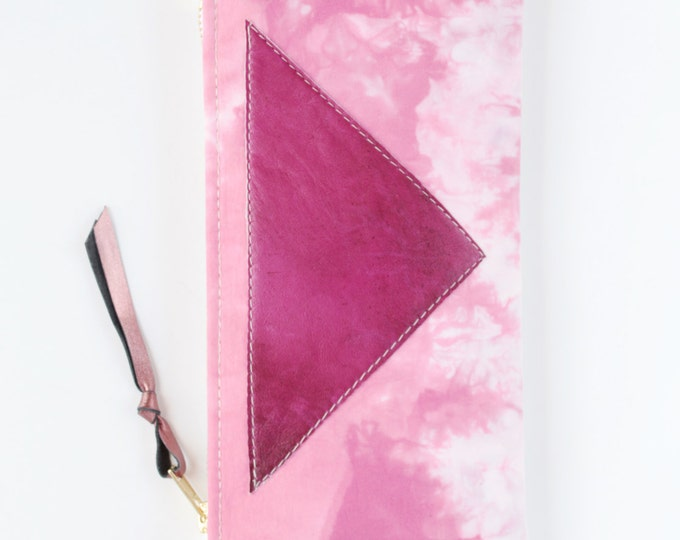 Cotton pouch-natural leather pouch-hand colored-tie dye-pink white-make up bag-cosmetic purse-bag organizer-zipper pouch /FLARE 112