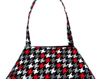 SMALL Retro Tote, houndstooth, black, white, red, structured bag, vintage inspired