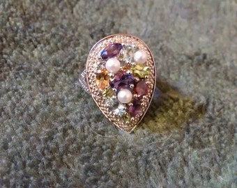 Vintage Sterling Silver Diamond Multi Gemstone Clustered  Pear Shaped  Ring ..Size 5 3/4