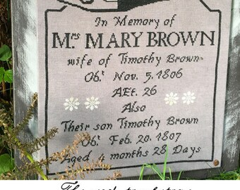 The sad tombstone of Mrs. Mary Brown