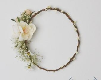 Flower Crown - Cream, Ivory, Baby's Breath Flower Crown, White Flower Crown, Wedding Crown, Boho, Boho Wedding, Silk Flower Crown, Floral