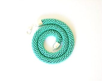 Turquoise necklace/Turquoise rope necklace/Beaded Rope necklace/Crocheted tubular