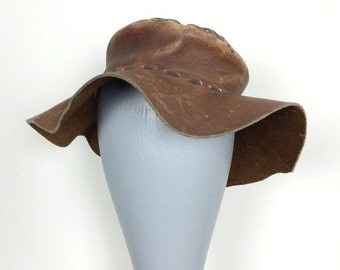 Floppy Leather Hat - Vintage Brown Wide Brim Sun Hat