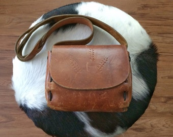 Small Leather Purse - Vintage Tooled Bag