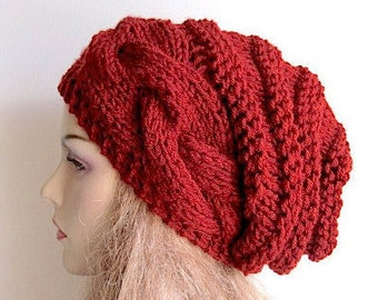 Instant Download PDF Knitting Pattern Braided Cable Chunky Slouchy Beanies Berets Beehive Hats Womens Teenage Girls