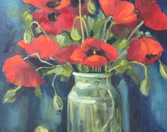 Poppy flowers still life.  Original one-of-a-kind oil painting  .Ready to ship.