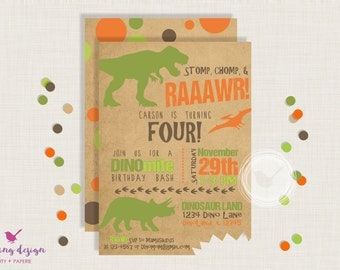 Dinosaur Invitation Set // Personalized,  Printable, Thank You Cards, Address Labels, Dinosaur Party
