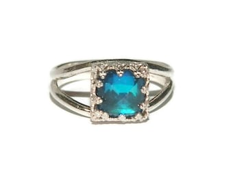 Blue Quartz Ring, Sterling Silver, Size 8, Low Profile Ring