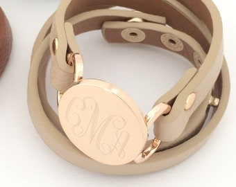 Monogram Leather Wrap Bracelet Snap with Gold or Silver 6 Colors Monogrammed Fashion Leather Bracelet Personalized