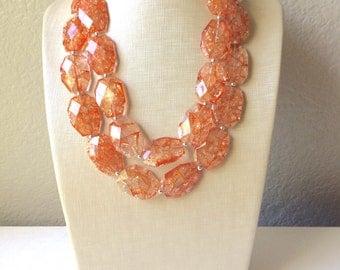 Orange Statement Necklace, Big Beaded necklace, chunky orange necklace, fall wedding, orange jewelry, pumpkin jewelry, halloween jewelry