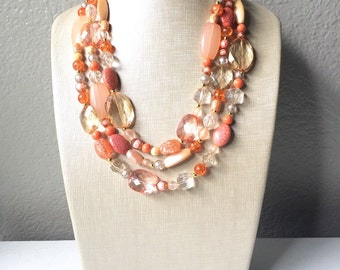 Peach and Coral Chunky Statement Necklace - Triple Strand Beaded Jewelry - peach coral jewelry -bridsmaid wedding