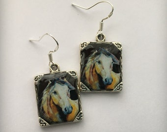 White Horse Earrings Jewelry Stallion 3D Dimensional Silver Picture