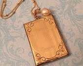 Vintage Large Locket, Rectangular Locket with Stripes, Freshwater Pearl Dangle, Gift for Her