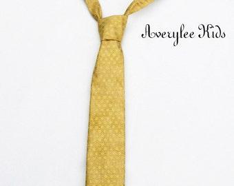Boys Gold Necktie, Toddler Formal Wear, Page Boy Outfit, Boys Buttercup Necktie, Infant Neck Tie, Wedding Ring Bearer, Page Boy Gold Necktie