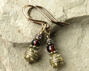 Boho dangle earrings antiqued bronze & brown glass