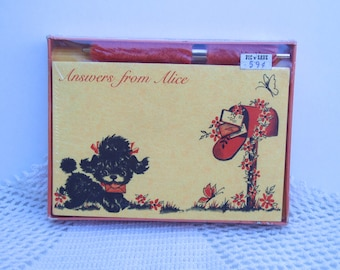 Vintage Dog Notecards . Personalized Stationery Notes . Answers From Alice . 1970s Note Cards